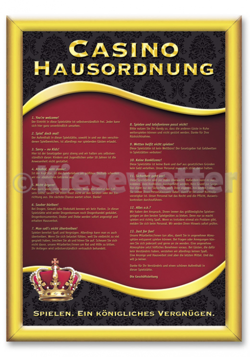 "Casino Style Poster ""Hausordnung"""