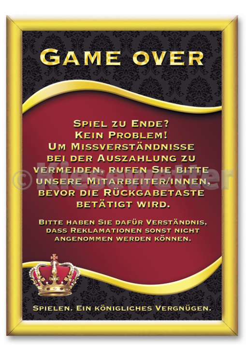 "Casino Style Poster ""Game over"""