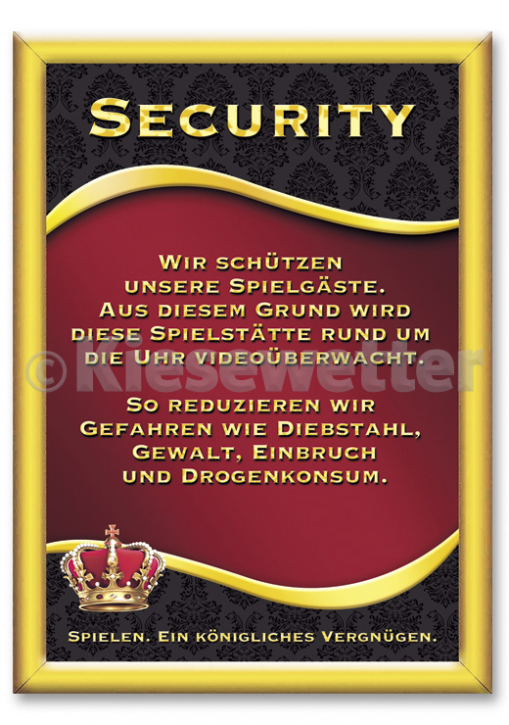 "Casino Style Poster ""Security"" (Artnr. 11853)"