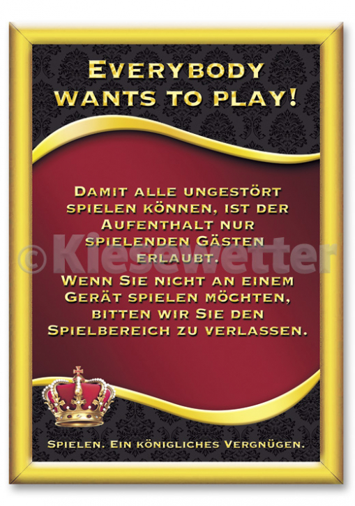 "Casino Style Poster ""Everybody wants to play"" (Artnr. 11854)"