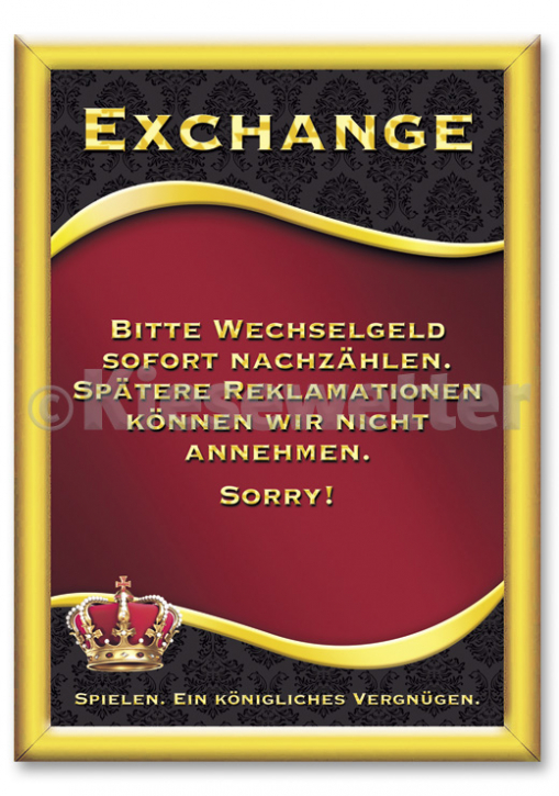 "Casino Style Poster ""Exchange"" (Artnr. 11856)"