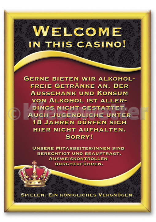 "Casino Style Poster ""Welcome in this casino"" (Artnr. 11858)"