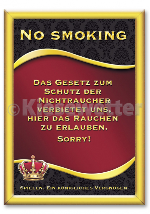 "Casino Style Poster ""No smoking"" (Artnr. 11859)"