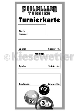 Turnier-Karte Pool-Billard (Artnr. 12087)
